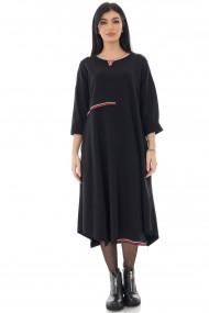 Rochie Roh Boutique larga, Roh, neagra, cu tiv asimetric - ROH - DR4252 negru