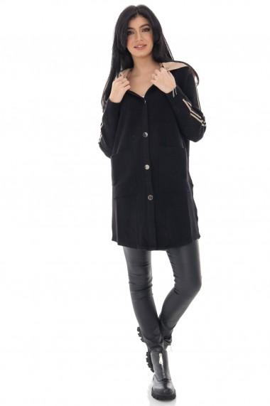 Cardigan Roh Boutique de dama, ROH, negru cu gluga in contrast - JR536 negru|crem