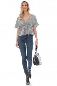 Bluza Roh Boutique de dama cu stelute, ROH, crem/negru, crop top - BR2390 crem/negru