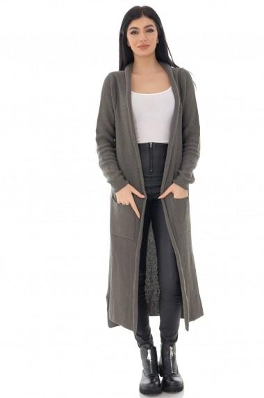 Cardigan Roh Boutique tricotat, ROH, kaki, lung cu buzunare - JR537 kaki