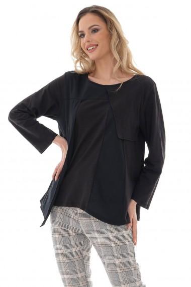Bluza Roh Boutique de dama, ROH, neagra cu piese asimetrice - BR2396 negru