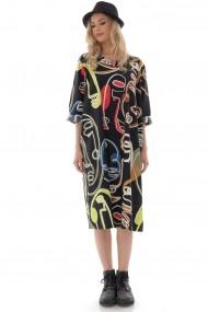 Rochie midi Roh Boutique midi, oversize, ROH, neagra cu imprimeu abstract - DR4254 negru|multicolor