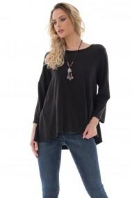 Bluza Roh Boutique de dama, casual, ROH, neagra cu tiv high low - BR2398 negru