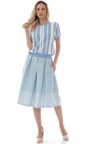 Bluza Roh Boutique de dama, chic, ROH, cu dungi in culori pastelate - BR2404 crem|bleu