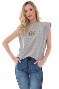 Tricou Roh Boutique de dama, ROH, gri cu dungi, cu pernite la umeri - BR2405 gri