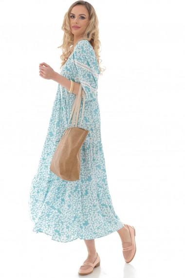 Rochie lunga Roh Boutique maxi, lejera, ROH, teal, cu imprimeu floral - DR4260 teal|crem