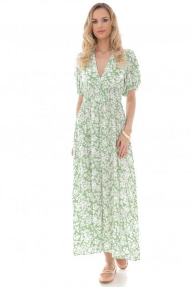 Rochie lunga Roh Boutique maxi, ROH, verde cu imprimeu floral Ditsy crem - DR4261 verde|crem