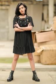 Rochie scurta, Roh Boutique ROH DR4265, neagra, scurta, cu broderie colorata negru
