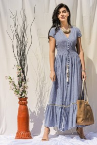 Rochie lunga, Roh Boutique ROH DR4266, bleu, maxi cu imprimeu alb si snur in talie bleu