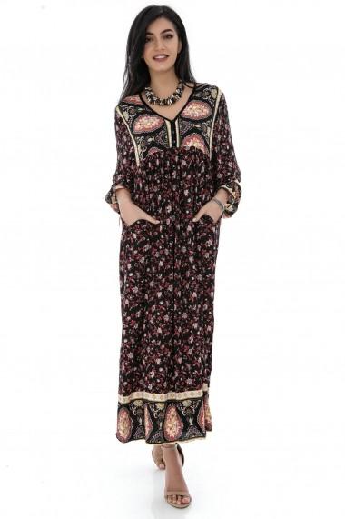 Rochie lunga Roh Boutique maxi, ROH, DR4267, neagra, cu imprimeu multicolor, oversize, cu buzunare multicolor