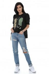 Bluza Roh Boutique de dama, ROH, BR2409, neagra, asimetrica, cu imprimeu chic negru