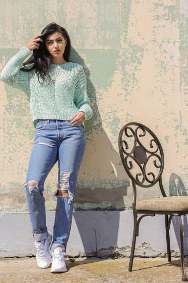 Pulover Roh Boutique de dama, ROH, BR2412, verde pastel, tricotat verde