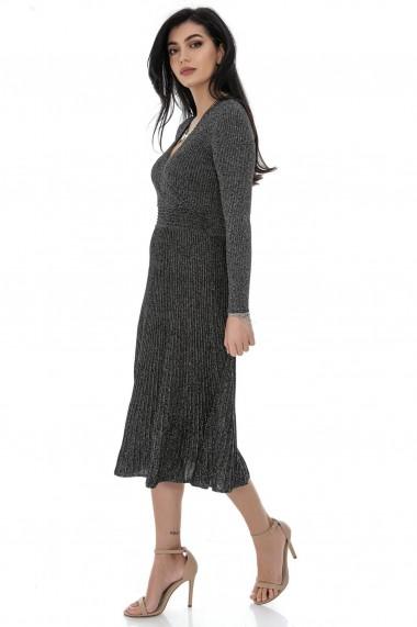 Rochie lunga Roh Boutique midi, ROH, DR4270, gri cu lurex, midi, cu fusta plisata gri