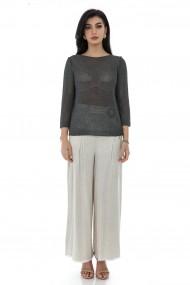 Bluza Roh Boutique de dama, ROH, BR2413, gri inchis, tricotata din fir cu aspect metalic gri