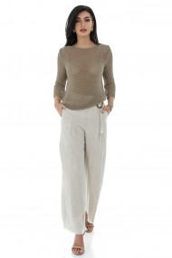 Bluza Roh Boutique de dama, ROH, BR2414, bej, tricotata din fir cu aspect metalic bej