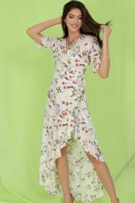 Rochie de zi lunga Roh Boutique maxi DR4273 cu imprimeu delicat petrecuta Crem