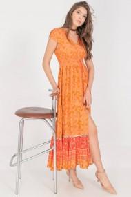 Rochie de zi lunga Roh Boutique de vara DR4274 cu imprimeu vibrant maxi multicolor Orange