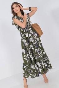 Rochie de zi midi Roh Boutique maxi DR4275 cu imprimeu floral crem cu volan la tiv Kaki