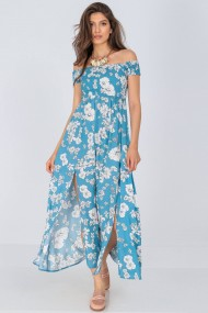 Rochie lunga Roh Boutique floarala cazuta pe umeri, albastra, Aimelia DR4287 albastru/crem