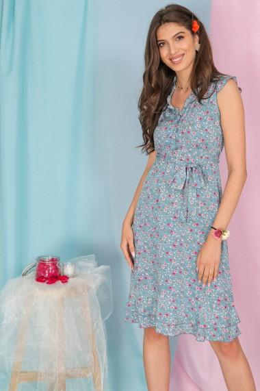 Rochie midi Roh Boutique florala, albastru pudrat, DR4298 albastru