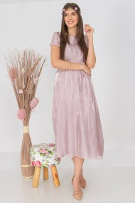 Rochie lunga de zi Roh Boutique plisata in talie, lila