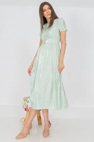 Rochie lunga de zi lunga Roh Boutique, plisata in talie, menta