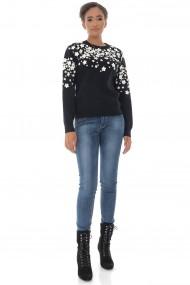 Pulover Roh Boutique de dama, Roh BR2429, negru, cu flori aplicate negru alb