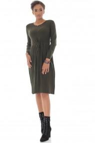 Rochie midi, Roh Boutique ROH DR4333, kaki, cu fusta plisata kaki