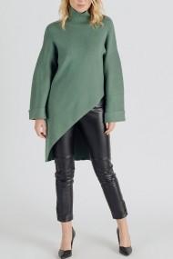 Pulover Roh Boutique de dama, oversize, ROH, verde, cu guler inalt - BR2442 verde