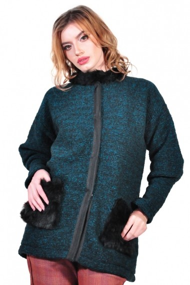 Cardigan RVL Fashion de dama, turcoaz