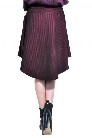 Fusta scurta RVL Fashion asimetrica de dama, negru-grena