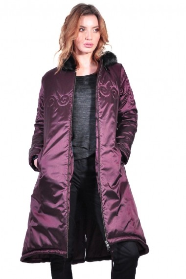 Geaca RVL Fashion lunga de dama, grena