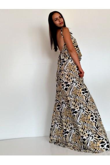 Rochie lunga din matase cu spatele gol Leopard Dream