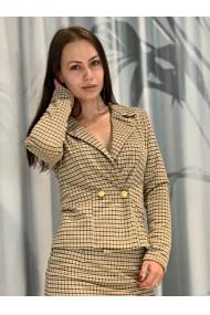 Sacou dama in carouri Yellow Plaid Office galben