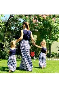 Rochii mama fiica lungi cu buline Blue Dots alb bleumarin