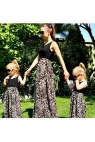 Rochii mama fiica lungi Leopard Print leopard cu negru