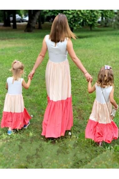 Rochii mama fiica cu 3 volane Volants and 3 Colors multicolor