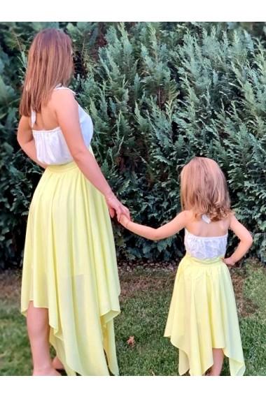Rochii mama fiica lungi in colturi Sunshine galbene cu alb