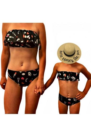 Costume de baie mama fiica Lipstick at the Beach negre