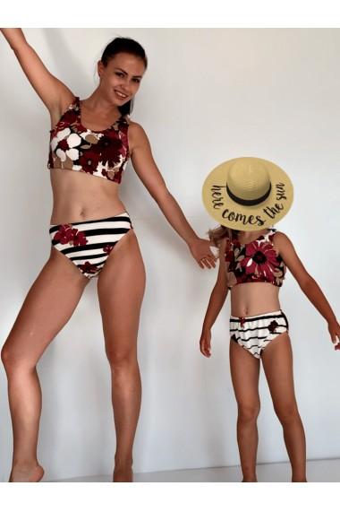 Costume de baie mama fiica Stripped Dark Red Blossom alb dungi grena