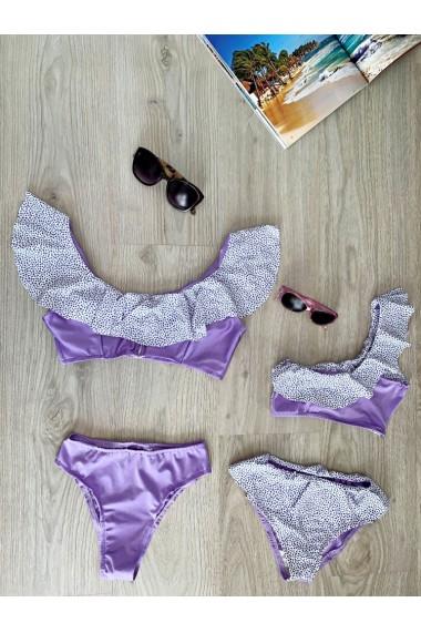 Costume de baie mama fiica cu volane si buline Purple Dots alb cu mov