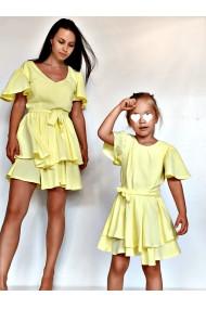 Rochii mama fiica cu volane Yellow Volants galbene