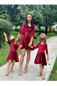 Rochii mama fiica din catifea Dark Red Love grena
