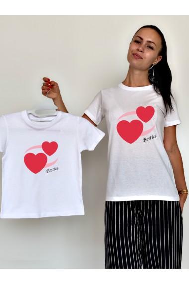 Tricouri Mama Fiica Revolving Hearts Besties