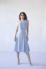 Rochie midi Noria Anis Primrose cu detaliu asimetric si curea bleu cu buline