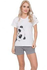 Compleu de dama, tricou cu maneca scurta si pantalon scurt, panda