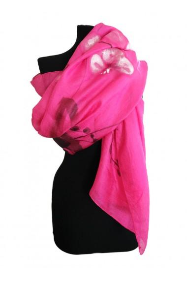 Esarfa UNICAT Decoresilk din matase naturala pictata manual 17 Roz