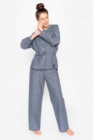 Pijama din bumbac, cu maneca lunga si pantalon lung
