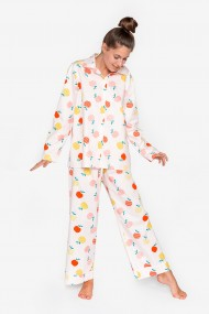 Pijama supradimensionata din bumbac, cu maneca lunga si pantalon lung