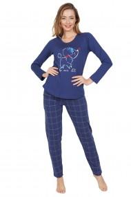 Pijama dama din bumbac, model Pudell, cu maneca lunga si pantalon lung